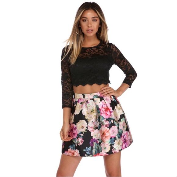 cb796507976c Windsor Dresses | Nwt Hayden Black Floral Blossom Two Piece Dress ...